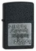 Zippo Black Crackle Pewter Emblem Lighter Model 363