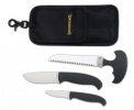 Browning Hard Core Hunter Combo Set 2 Knives 1 Saw Black handles & Sheath