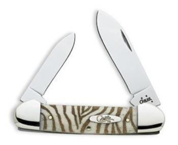 Case 8926Canoe Knife Zebra Etched Pattern Handle
