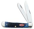 Case Navy Blue Jigged Bone Trapper Knife #CA7051