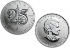 2013 Canadian Silver Maple Leaf 25th Anniversary Coin