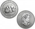 2015 Canadian Silver Polar Bear and Cub 1.5 oz Coin .9999 Fine