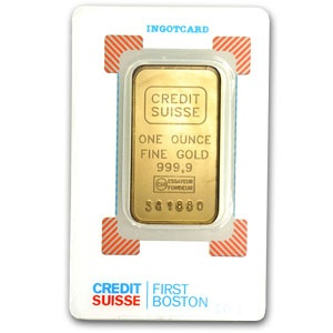 Credit Suisse 1 Oz Gold Bar 9999 Fine In Assay