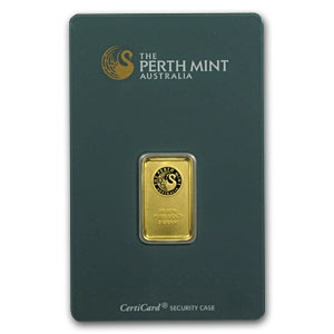 Perth Mint 5 Gram Gold Bar .9999 Fine (In Assay)