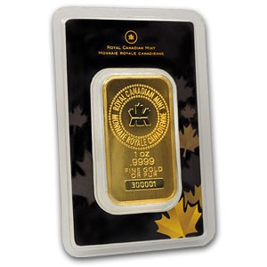 royal canadian mint 1 ounce gold bar 9999 fine in assay
