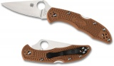 Spyderco DELICA FLAT GROUND PLAIN BROWN - C11FPBN