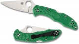 Spyderco Delica Flat Ground Plain Green C11FPGR