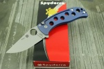 Spyderco PITS FOLDER--BLUE TITANIUM HANDLE/BEAD BLASTED/PLAIN EDGE - C192TIBLP