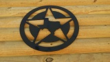 Texas Inside Texas Star Wooden Wall Plaque Pediment - 22 Inch - Black