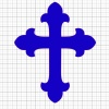 Cross Blue Vinyl Decal 8x8