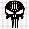 Punisher Three Percenter Black Vinyl Decal 12x12