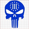 Punisher Three Percenter Blue Vinyl Decal 8x8