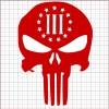 Punisher Three Percenter Red Vinyl Decal 12x12