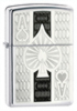 Zippo Ace Lighter 24196 Silver Black Silver Aces