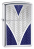 Zippo Deep V Windproof Lighter Bare Polished Blue