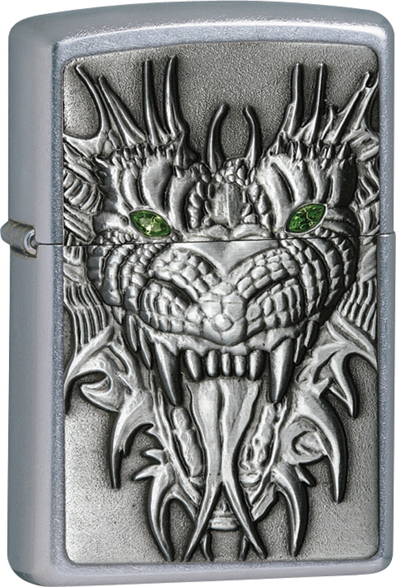 Zippo Mighty Dragon Street Chrome  amp  Dragon Emblem 24901Dragon Zippo Lighters