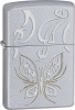 Zippo Golden Butterfly lighter Satin Chrome 24339