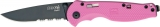 SOG Flash I Pink Ztytel 8Cr13MoV Steel Part Serrated